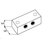 4x4 Smeernippelblok RVS 316 1/8 BSP 2x Bev.gat
