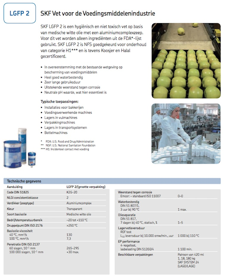 SKF LGFP 2 voedingsmiddelen vet